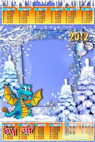 Календарь 2012 - Зимняя сказка / Calendar 2012 with a frame for photo - Winter tale
