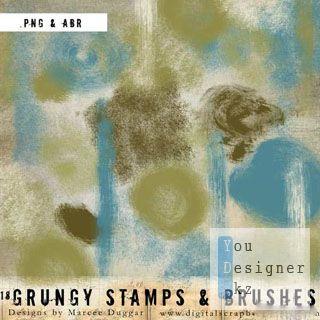 Гранжевые кисти для коллажей от Марси Даггер / Grunge Brushes