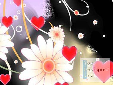 Футаж переход - Цветы с сердцами / Footage transition - Flowers with hearts