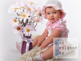 Шаблон для фотошопа-Девочка с ромашками