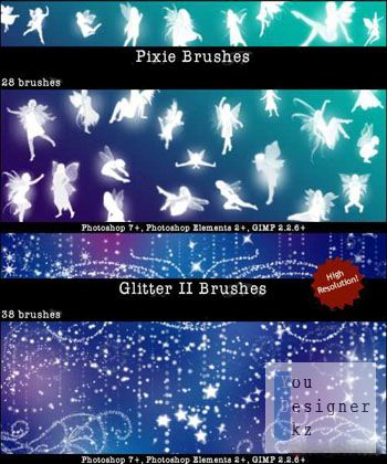 Кисти - Феи и Блеск /  Pixie Fairy Brushes and Glitter II Brushes