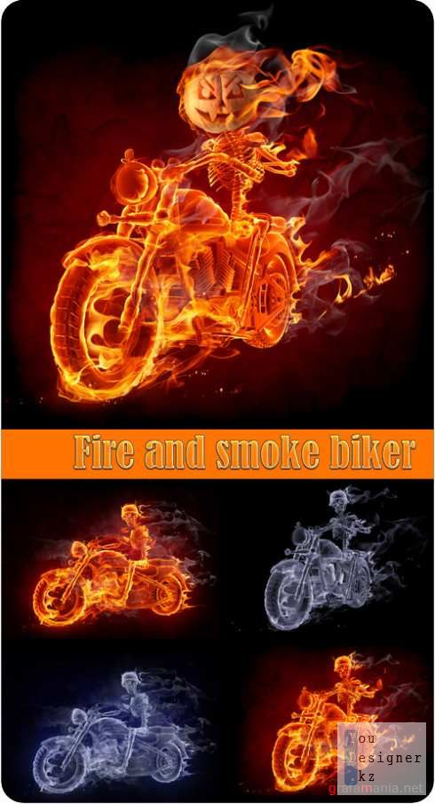 Fire and smoke biker