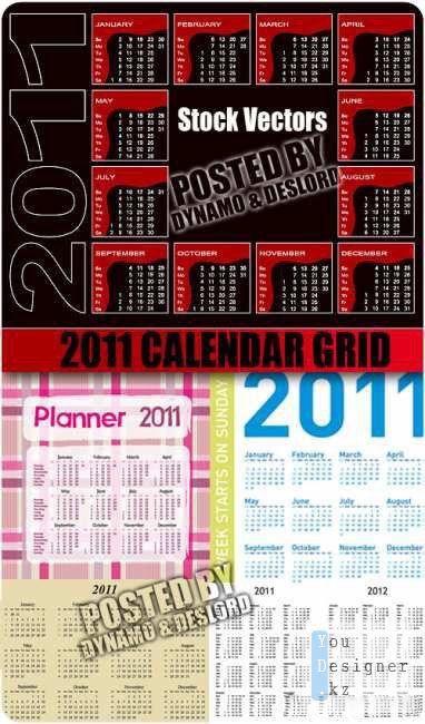 Векторные календарные сетки