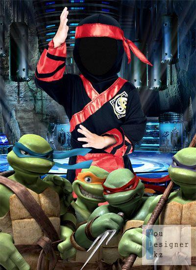 Шаблон для фотомонтажа: Черепашки ниндзя / Template for photomontage: Turtle ninja