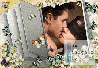 Винтажная рамка в виде открытой книги - Загадочный поцелуй