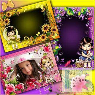 Яркие фоторамки для девочек - Веселые куклы Джолли с бабочками
