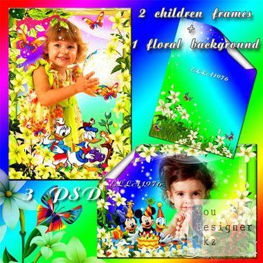 Две замечательные детские рамки и цветочный фон для вашей фантазии в фотошопе