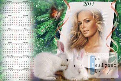 Календарь для фото - Милые кролики