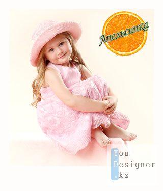 Шабон для фотошопа-Девочка в розовой шляпке