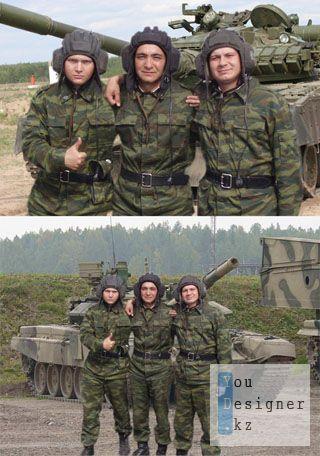 Шаблон для фотомонтажа- 3 танкиста