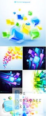 3D Bright Abstracr Backgrounds Vector