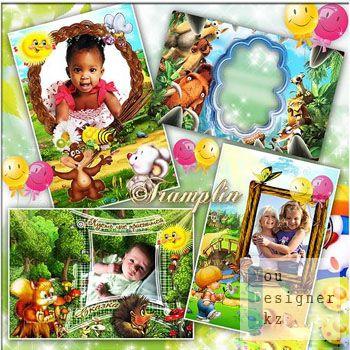 4 Детские рамки для фото – Детства волшебное царство – радость весёлых проказ / 4 children photo frames - Magical childhood kingdom - happiness of cheerful monkey tricks