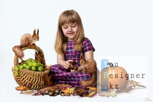Шаблон для фотошопа-Девочка и фрукты