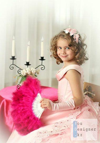 Шаблон для фотошопа-Девочка с веером