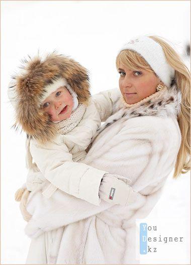 Шаблон для фотошопа-Мама с сыном зимой