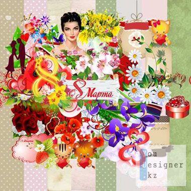 Скрап набор: 8 марта / Scrap kit - Women's Day