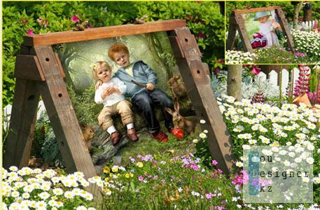 Children frame for Photoshop - Garden