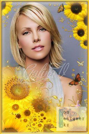 Рамка для фото - Подсолнухи и бабочки / Photoframe - Sunflowers and butterflies