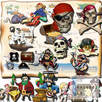 Клипарт для оформления работ на пиратскую тему / Clipart for design work on a pirate theme