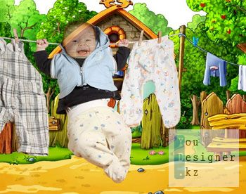 Детский шаблон для фотомонтажа- Малыш после стирки / Children's template for the photomontage- Baby after washing