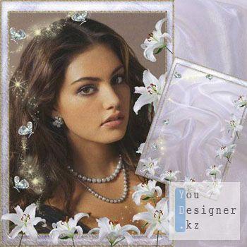 Рамка для фотошопа-Белые лилии / Frame for photoshop-White lilies