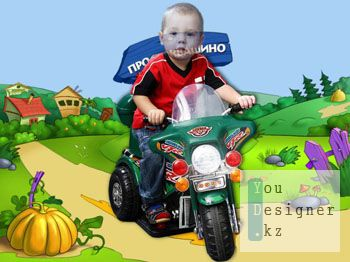 Шаблон для фотомонтажа- Маленький байкер / Photo template - Little biker