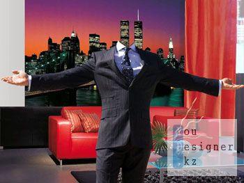 Мужской шаблон для фотомонтажа - Добро пожаловать / Male pattern for the photomontage - welcome