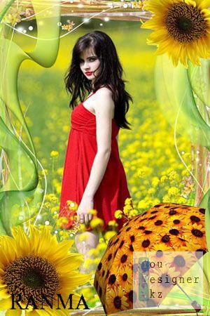 Рамка для фото-Солнечные подсолнухи 2 / The frame for the photo-Sunny sunflowers 2