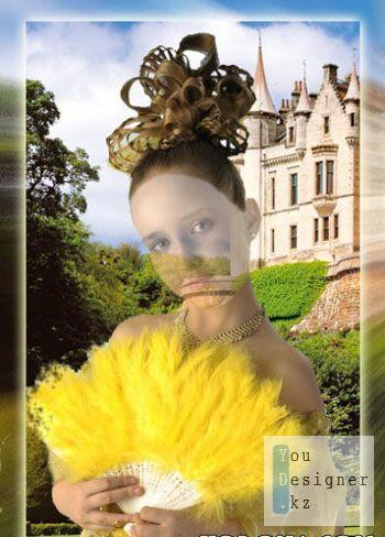 Шаблон для фотомонтажа-Девочка с веером / Photo template - Girl with fantail