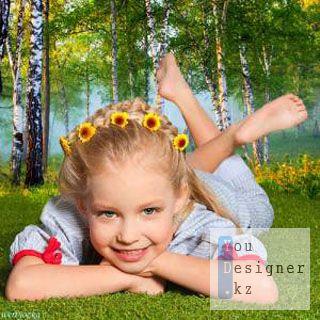 Детский шаблон - Озорная девчонка в березовой роще / Chldren template - playful girl in birchwood