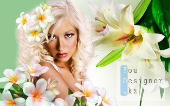 Шаблон для фотомонтажа- Белые лилии / Template for the photomontage- White lilies