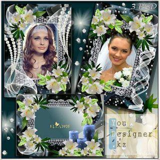 Цветочные рамка - Белая, чудная лилия