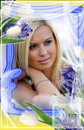 Рамка для Photoshop - Белые тюльпаны