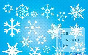 Белые Векторные Снежинки - White Vector Snowflakes