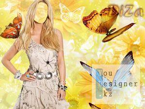 Шаблон женский с бабочками