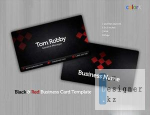 Визитки:  Black & Red Business Card