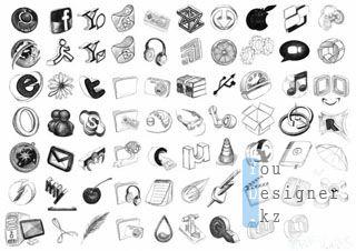 Нарисованные вручную иконки / Black Bic Doodling Icons