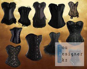 Клипарт - Элегантные черные корсеты