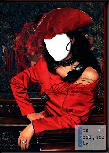 Женский шаблон для фотомонтажа - Брюнетка в красном