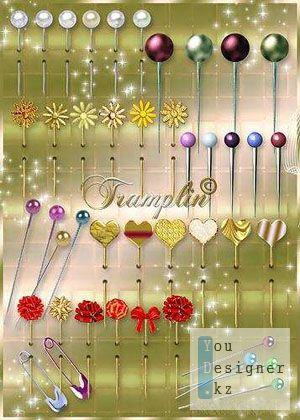 Клипарт – Разноцветные булавочки, иголочки, заколочки / Clipart - multicoloured pins, needles, hairpins