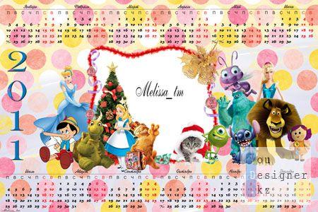 Календарь на 2011 для детей с героями мультфильмов
