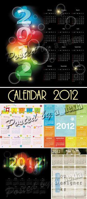 Векторный календарь на 2012 год /  Calendars 2012 year - vector