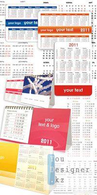 Векторные - Календарные сетки и настольные календари на 2011 год.