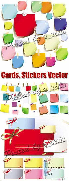 Cards, Stickers, Memo Notes - Vector