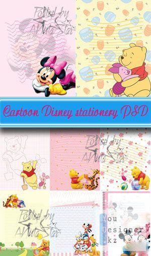 Мультфильм Дисней канцелярский шаблон / Cartoon Disney stationery PSD