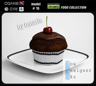 Model for 3DMax chocolate cake  (food collection, #15)