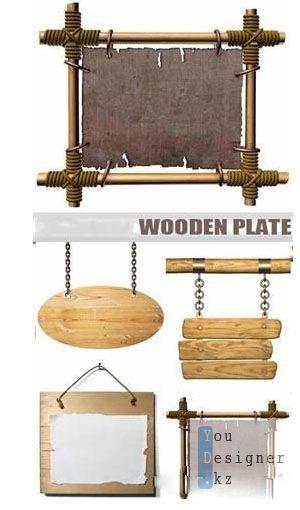 Четыре деревянные таблички - фоны / Four wooden plate - backgrounds