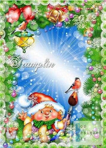 Новогодняя рамка с Гномиком и снегирями / Christmas frame with gnome and bullfinches