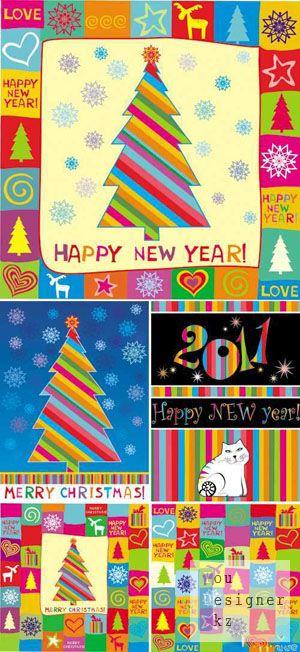 Новогодние цветные бесшовные шаблоны