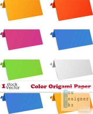 Векторное Оригами из цветной бумаги /  Color Origami Paper Vector
